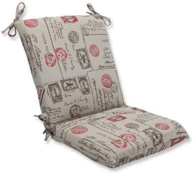 Pillow Perfect Squared Corners Chair Cushion with Bella-Dura Carte Postale Fabric