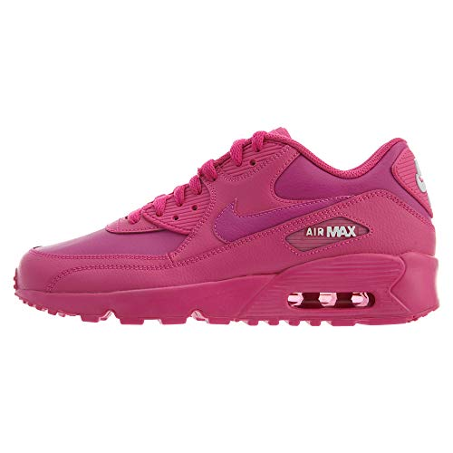 Nike 833376-603 Big Kids Air Max 90 Laser Fuchsia White Leather Sneakers