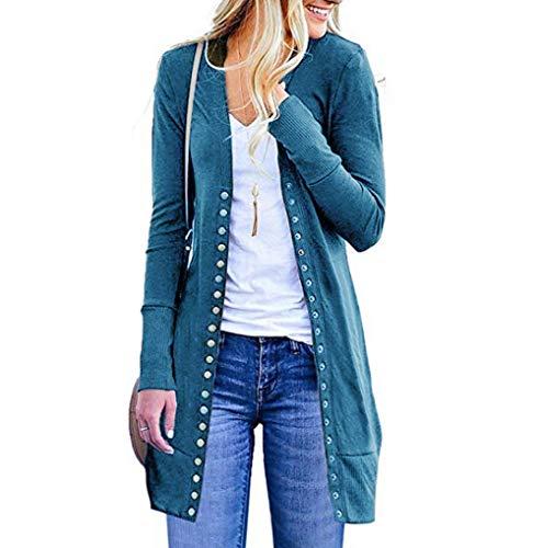 Jacket Open Button Sweater Ladies Long Size Plus Outwear Pocket Blue Down Sleeved TUDUZ Women Long Front Cardigan Cardigan Coat Loose Plain Drape x7C0qZZwv