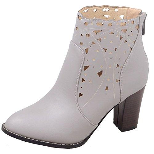 Aiyoumei Donna Ritaglio Rotondo Punta Tacco Con Cerniera Tacco Autunno Inverno Ankle Boots Grigio