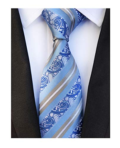 Silk Tonal Blue Tie (Men's Silk Slim Ties Sky Blue Grey White Stripe Paisley Neckties Valentine's day)