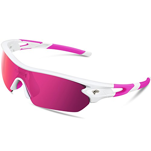 Torege Polarized Sports Sunglasses With 5 Interchangeable Lenes for Men Women Cycling Running Driving Fishing Golf Baseball Glasses TR002 (White&Pink&Pink - Cycling Sunglasses White