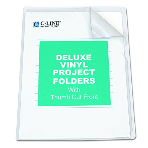 C-Line Deluxe Super Heavyweight Non-Glare Vinyl Project Folders, Letter Size, Clear, 50 per Box (62138) ()