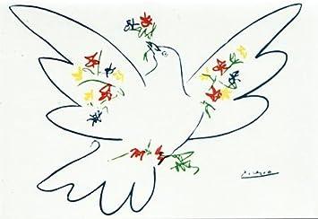 Kunstkarte Picasso Taube mit bunten Blumen Amazonde Brobedarf