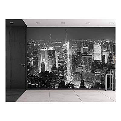 Astonishing Style, Classic Artwork, Grayscale Photo of New York City at Night from The Top Wall Mural