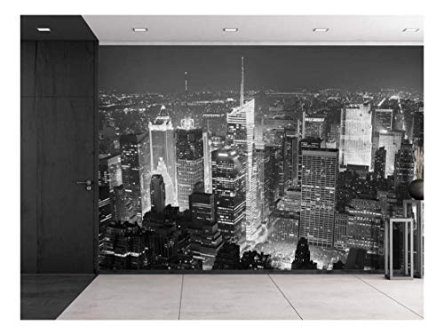 Grayscale Photo of New York City at Night from The Top Wall Mural