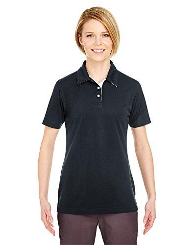 UltraClub Ladies Performance Birdseye Polo Shirt, Black, Medium. (Pack of 10) -