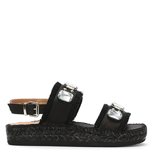 Kanna Doha Espadrillas Fabric Impreziosito Nero Bar Due Black rU6qrS