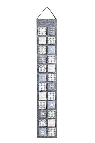 Heitmann Deco 91562 Adventskalender aus Filz zum Befüllen, grau, Stoff, 39 x 23 x 3,5 cm