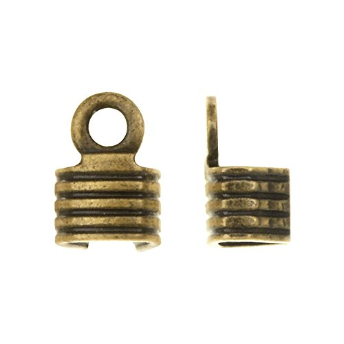 Fold Over Crimp Ends, For Finishing Cords 6x4mm, 50 Pieces, Antiqued Brass (Fold Over Crimp)