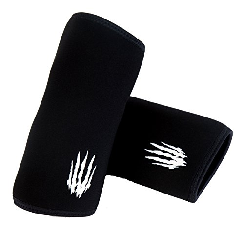 Bear KompleX Elbow Sleeves (Sold AS A Pair of 2) for Weightlifting, Powerlifting, Wrestling, Strongman, Bench Press, Cross Fitness, and More. Compression Sleeves Come in 5mm Thickness Elbow BLK L