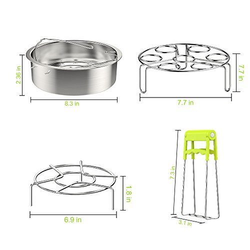 Vegetable Steamer Basket & Egg Steamer for Instant Pot Accessories, Egg Steam Trivet/Basket Rack Sets for 5,6,8Qt Pressure Cooker- 100% Stainless Steel Cooking Basket, 4 PCS