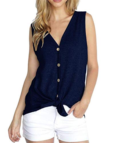 (PCEAIIH Womens Henley Blouse Sleeveless T Shirt Tie Front Knot Tops L-Navy Blue)