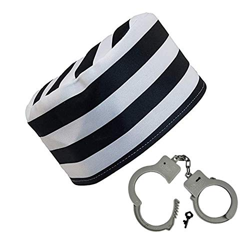 Adult Prisoner Hat With Plastic Handcuffs Costume -