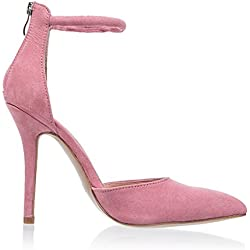 VFDFGN sexy Woman Open Toe Sandals Suede High Sandals Women Summer Dress Shoes pink 10