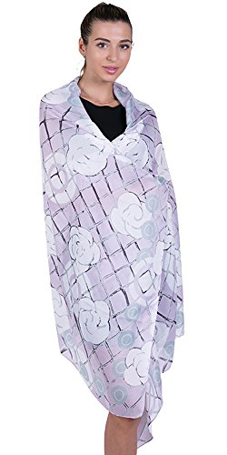 Women Long Large Lightweight Satin Scarves Lavender Sunscreen Printed Shawl Wrap Headscarf ()