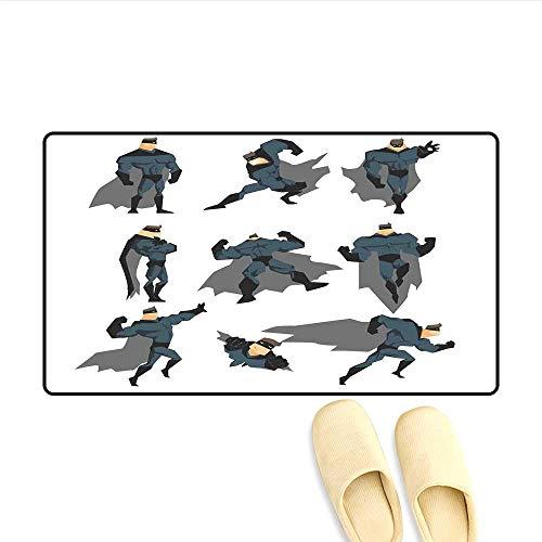 Bath Mat Fun Cartoon Man in Costume Posing Hero Flying Running with Superpowers Art Print Door Mat Increase White Grey 20