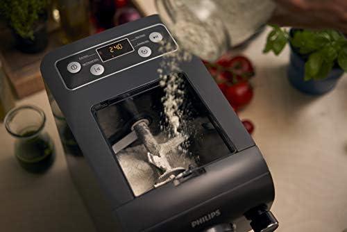 Philips HR2382/15 Machine à pâtes automatique, balance intégrée, 8 disques de forme, Gris - Livre de recettes uniquement disponible en Anglais, Allemand et Italien