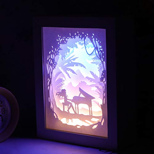 Mobestech LED Papercut Light Box Girl Piano Pattern Sculptures 3D Shadow Light Box Desktop Night Light for Gift Christmas Birthday