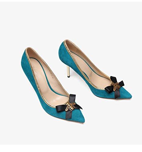 de Salvaje de Zapatos Baja Acentuados Blue Stilettos Boca Mujer FgxA6ES