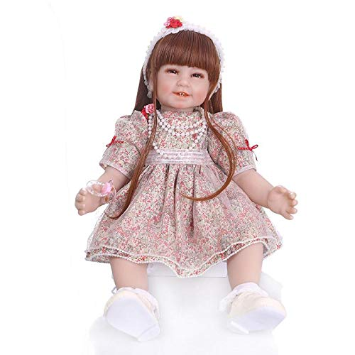 Angelbaby Reborn Baby Dolls Realistic Looking Silicone Bebe Dolls Smile Face Long Brown Hair Toddler Girl 22 inch Weighted Baby for Ages 3+ (Floral Dress)