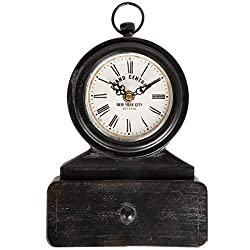 Lily's Home Vintage Inspired Mantle Clock, Battery Powered with Quartz Movement, Fits with Victorian or Antique Décor Theme
