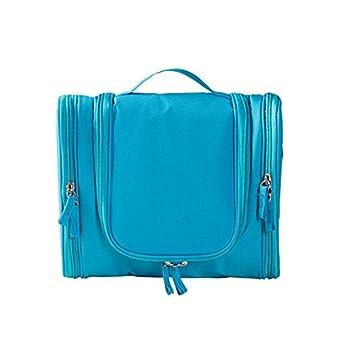 Maquillaje cosmético del recorrido eDealMax neceser Lavar la caja de almacenaje del organizador bolso colgante Azul