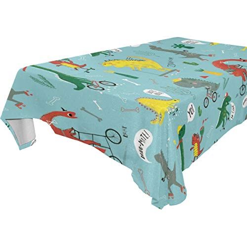 Table Cloth Dinosaurs Rectangle/Oblong Polyester Tablecloth Washable Table Cover for Dinner Picnic, Buffet Table, Parties