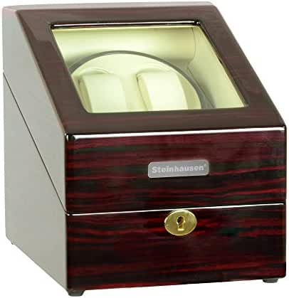 Steinhausen Heritage SW2001 Double Watch Winder With Storage For 3 Watches, Ultra Quiet Motor and Multiple Modes (Cherrywood)