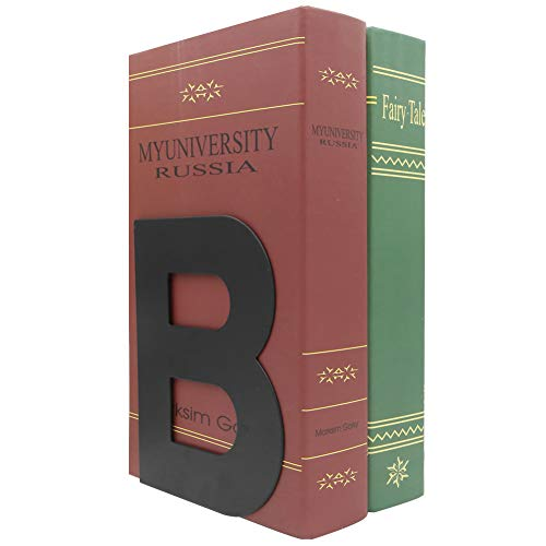 A Pair of Simple Style B Letter Metal Book Ends Bookends Book Organizer Holder for Home Office Study Decor(Black)