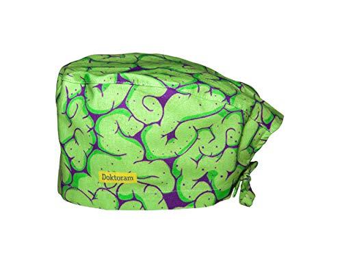 DOKTORAM Surgical Scrub Cap Medical hat Funny Prints Skull Cap (Green Brain)