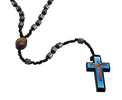 Focal Barrel (Things2die4 Metal Rosary Beads Hematite Barrel Beaded Rosary Printed Graphic Cross Blue Blue)