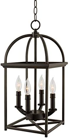 Kira Home Amesbury 21 4-Light Farmhouse Lantern Chandelier, Bird Cage Entry Light, Oil Rubbed Bronze Finish