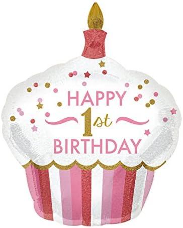 Super Shape 1st Birthday Girl Cupcake Foil Balloon