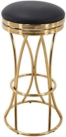 Brage Living Backless Gold Barstool with Round Black PU Leather Seat – Fully Assembled