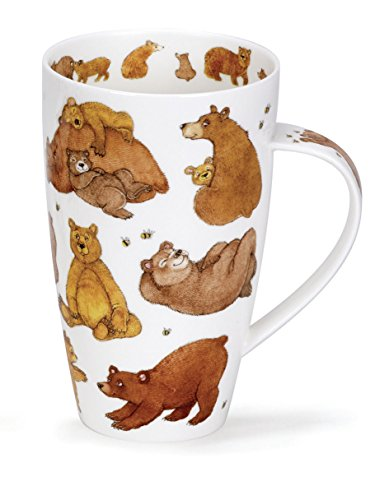 Dunoon Gorgeous 'Grizzlies' Grizzly Brown Bear Fine Bone China Large Mug Henley Style ()