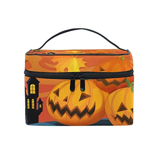 Travel Cosmetic Bag Halloween Pumpkin Leaf Owl Toiletry Makeup Bag Pouch Tote Case Organizer Storage For Women Girls -