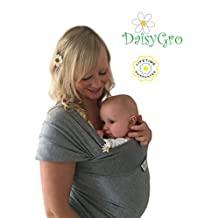 •NEW CANADA RELEASE!• DaisyGro Breathable Soft Cotton Baby Sling Carrier, Baby Wrap, Nursing Cover, Grey, Regular Size 0-12