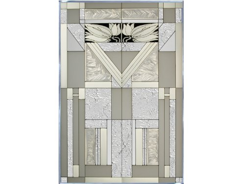 Mission Style White Vertical Art Glass Panel Wall Hanging Suncatcher 30 X 20