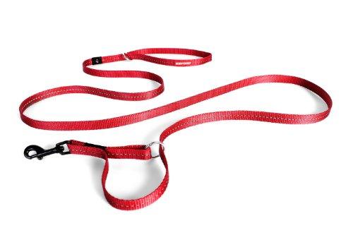 Ezydog Reflective Harness - EzyDog Vario 4 Multi-Function Adjustable Dog Leash and Slip Lead - Converts to 6 Foot or 3 Foot - Perfect for Training and Reflective for Nighttime Safety - For Small Dogs Under 26 lbs (Red)