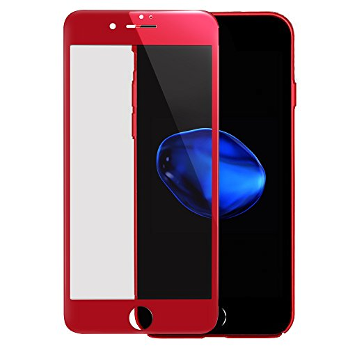 iPhone 7 Plus Screen Protector, Villstar Red Tempered Glass Screen Protector Film Full Coverage for iPhone 7 Plus 3D Curved 9H Hardness Anti Fingerprint Bubble Free Soft Carbon Fiber Plastic Frame