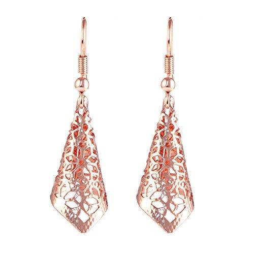 """""""Cherry Blossoms"""" Flower Charms Earrings, Rose Gold Filigree Dangle Earrings for Women & Girls"""