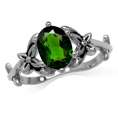 1.15ct. Green Chrome Diopside 925 Sterling Silver Flower & Leaf Vintage Inspired Ring Size 10
