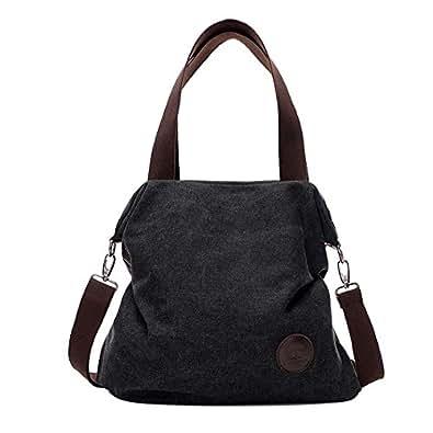 56c00be0a4 Amazon.com  Women Canvas Shoulder Bag Handbag Zipper Purse Satchel Casual  Crossbody Bags Best Sale- LXX9 Color Black  Shoes