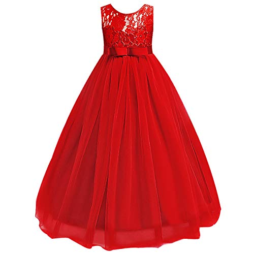 Girls Tulle Lace Flower Wedding Bridesmaid Dress Floor Length Princess Long A Line Pageant Formal Prom Dance Gown, Red, - Formal Pageant Prom Gown Dance