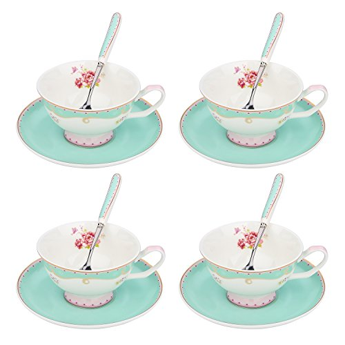 (ARTVIGOR Tea Set New Bone China 6.8 Ounce / 200 Milliliter Espresso Coffee Cups with Matching Saucers, 37x10.5x35.5cm, Light Green)