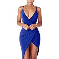 YS.DAMAI Women's Sexy V Neck Spaghetti Strap Bodycon Sleeveless Wrap Dress Front Slit Bandage Midi Club Dresses
