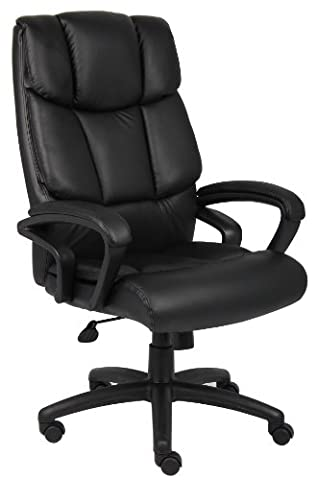 Boss Office Products B8701 High Back No Tools Required Top Grain Leather Chair in Black - Boss Office Desk