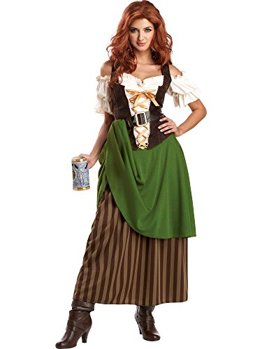 California Costumes Tavern Maiden Adult Costume, Olive/Brown, Large ()