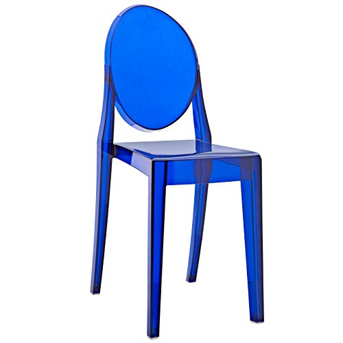 Modway Casper Modern Acrylic Dining Side Chair in Blue (Upholstered Side Table)